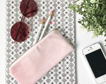 """PINK VELVET POUCH / clutch bag, make-up bag, pencil case / cotton black and white / 3.5""""x8"""" / gold zip / la petite boite / made in quebec"""