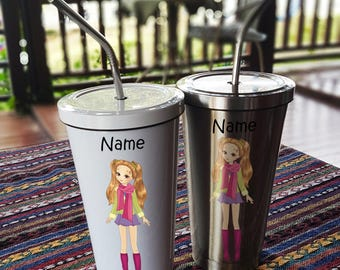 Girl Style 2 Stainless Steel Tumbler 16 OZ with Straw, Stainless Tumbler with Custom Name, Stainless Steel Travel Mug