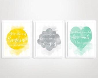 You Are My Sunshine Wall Art, Nursery Rhyme, Sunshine Nursery Wall Art, 3 Piece Wall Art, Nursery Prints, Nursery Decor, Baby Room Decor