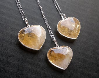 Citrine Necklace Citrine Heart Necklace Citrine Pendant Citrine Jewelry Mineral Necklace Silver Heart Pendant Stone Necklace Silver Citrine
