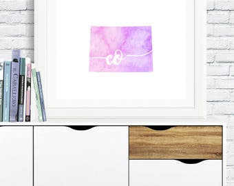 Colorado State Printable - digital download, dorm art, map art, pink and purple watercolor, minimalist art, usa outline map, gallery wall