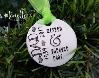 Memorial Ornament, Memorial Gift, Personalized Christmas Ornament, Remembrance Gift, In Memory of Gift, Death of Loved One Gift,Forever Dear