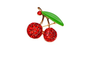 Gold and Red Rhinestone Cherry Brooch - Pinup Rockabilly Vintage, Classic