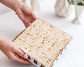 Passover Matzah Plate - Matzo tray - Rings Pattern Seder table decor - Pessach hostess gift , Modern Judaica geometric style, Made in Israel