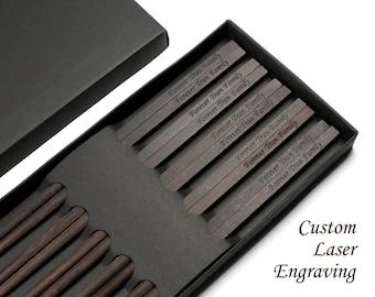 5 Pairs Black Ebony Wood Handmade Chopsticks with Custom Laser Engraving, Family Chopsticks, Zero Varnish and Lacquer healthy Chopsticks