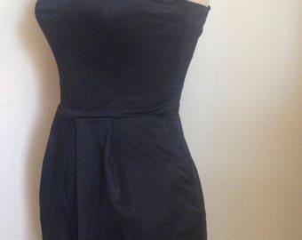 1990's Black Cotton Satin Finish Micro Mini Dress with Removable Spaghetti Straps/Pockets/Candie's /LBD