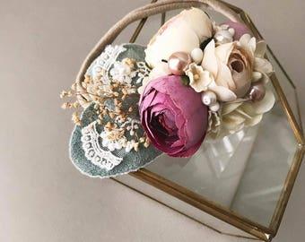 Small Sized MINI Flower Crown Headband: Mauve, Antique Beige