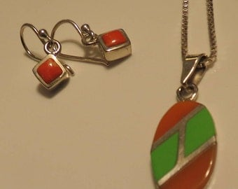 Spiny Oyster Pendant and earring set