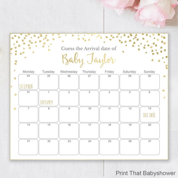 Guess The Due Date Gold Baby Shower Games Baby Shower