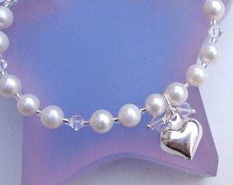 Freshwater Pearl bracelet Sterling Silver heart and Pearl bracelet + Swarovski crystal bridesmaid gift bridesmaid bracelet wedding bracelet