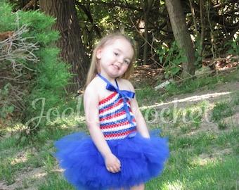 4th of July Tutu Dress, American Flag Tutu Dress, Fourth of July Tutu Dress, Red White and Blue Tutu Dress, July 4th Tutu JoellaCrochet