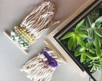 13 + 14 Woven Wall Hanging - Micro Green + Micro Purple, Wall Art Weaving, Nursery Decor, Weave, Texture
