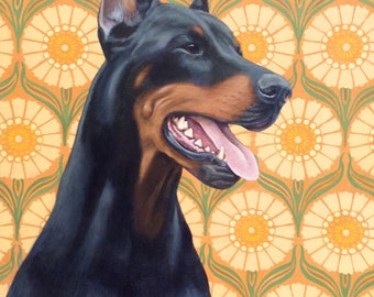 "Doberman Pincer Portrait on Canvas, ""Dober Dog"""
