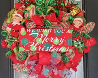 Christmas Wreath, Christmas Elf Wreath, Christmas Door Hanger, Decoration, Holiday Decor, Elf Wreath, Wreath for Door, Front door wreath