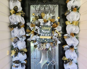 New Year's Wreath, Wreath with Garland, New Year's Party, Silver and Gold, Happy New Year, Deco Mesh Wreaths, Door Garland