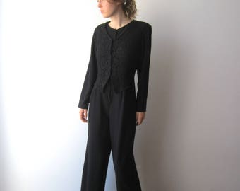 Vintage 80's Black Evening Overalls Long Sleeve Wide Leg Rompers Disco Style One Pice Jumpsuit Size S/M Black Lace Rompers Retro Jumpsuit