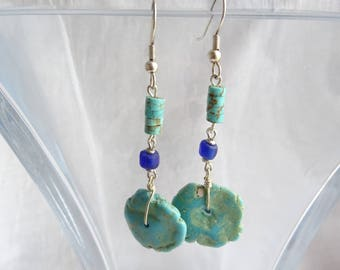 Turquoise Earrings with Blue Glass Beads