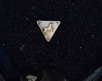 unicorn arrow triangle pin (hand-stamped brass)
