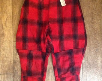"""Vintage 1960s 60s red black checked plaid wool duck hunting shooting trousers breeches pants plus fours 34"""" x 25"""" suspender buttons leg lace"""