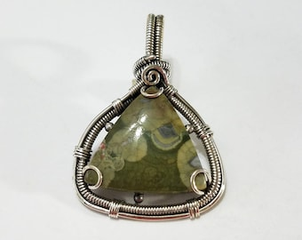 Rainforest Jasper, Sterling Silver Pendant, .925 Sterling Silver, Necklace, Focal, Beading, Jewelry, Supplies, Supply