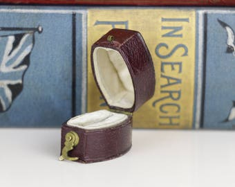 Victorian Antique Ring Box Engagement or Wedding Ring Box - Burgundy