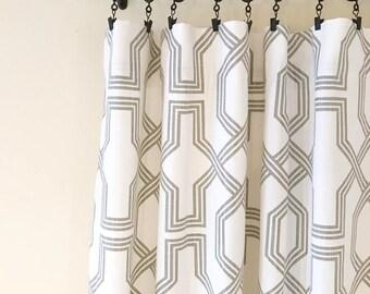 Luxe, Linen, Drapery, Panels, Gray, White, Geometric, Pattern,