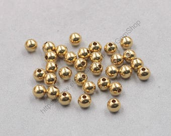 50Pcs, 6mm Raw Brass Round Ball Beads , hole size 1.5mm , GY-J032108