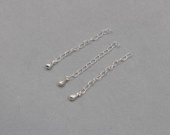 4Pcs 50mm Sterling Silver Extender Chain Extension Chains Tail Link 925 Silver Charms Wholesale For Bridesmaid Gift Party JD-009