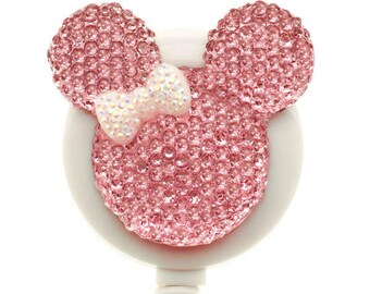 Pink Mouse with White Bow ID Badge Reel - Mouse Badge Holder - Nurse Gift