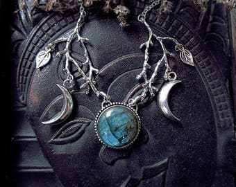 Labradorite Antler Necklace, Cernunnos, Triple Moon, Blue Labradorite Pendant, Branch Necklace, Patronus, Deer