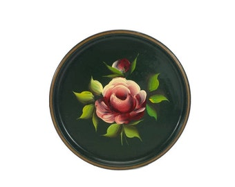 Tray Rose Tole Painted Wall Decor Shabby Cottage Chic Vintage French Country Farmhouse Small Round Floral Metal Tin Platter Hanging Kitchen