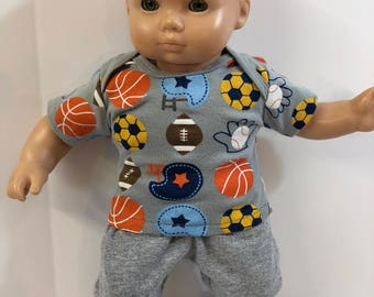 "BOY 15 inch Bitty Baby Clothes, 2-Piece Outfit, ""All SPORTS - Football, Soccer, Basketball"" Top, Gray Pants, 15 inch American Doll Bitty Boy"