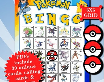 POKÉMON with Numbers 5x5 Bingo printable PDFs contain everything you need to play Bingo.