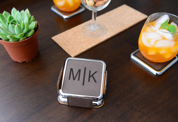 Personalized Monogram Leather Coaster, Set of 4 With Holder | Best For Housewarming, Wedding and Family Gifts