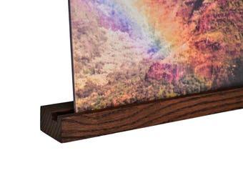 record ledge - oak - dark stain