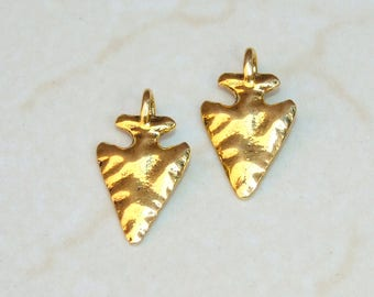 Pair of Gold Plated Arrowhead Pendant - Gold Plated Arrowhead. Arrow Druzy Pendant - Pendant - 15mm x 25mm