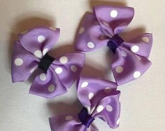 Purple bows, hair bows, purple poka dot hair clips, children's hair bows, hand-made hair bows