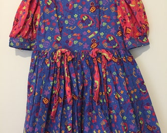 Vintage/retro 80s/90s girl's dress with Disney's Minnie Mouse print. Approx size 8-10 girls.