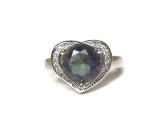 Vintage Sterling Mystic Topaz Heart Ring Size 7