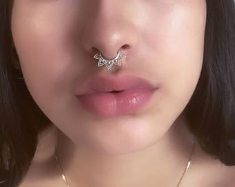 Silver Septum Ring - 16G Septum Ring - Indian Septum Ring - Tribal Septum Ring - Septum Jewelry - Septum Piercing - Septum Nose Ring (S24)