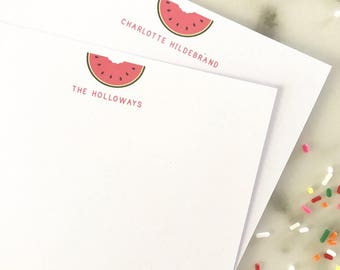 Watermelon Personalized Stationary - Stationery Set Girls 20 Flat Cards Thank You Notes