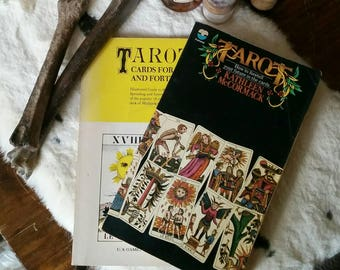Vintage Tarot books ~ pair of 1970's guides on how to read tarot cards, how to foretell your future, tarot reading