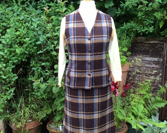 Vintage S/M 60s Brown wool checked Dereta two piece.