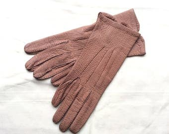 Vintage Hogskin gloves, Marshall & Snellgrove leather gloves, size 7 handstitched leather  gloves.