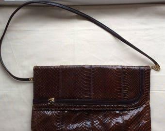 Vintage 70s brown leather snakeskin bag, 1970s Jane Shilton shoulder/clutch bag
