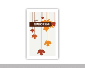 "Happy Thanksgiving Fall Autumn hanging falling leaves program cover 8.5""x11"""