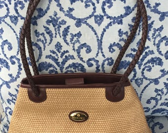 Vintage Aigner Cordovan leather and woven shoulder handbag
