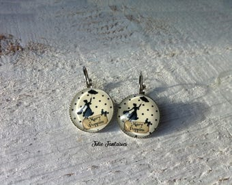 """Earrings """"Mary Poppins"""" - 18 mm round Cabochon"""