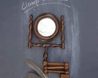 Vintage Wood Clamp-On Mirror, Accordion Shaving Mirror