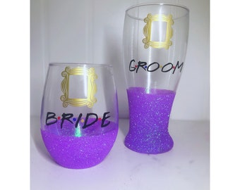 Friends Bride and Groom Set/ friends tv show/ friends theme bridal shower